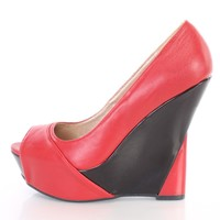 Red Peep Toe Two Tone Platform Wedges Faux Leather