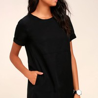 Fine Finesse Washed Black Shift Dress