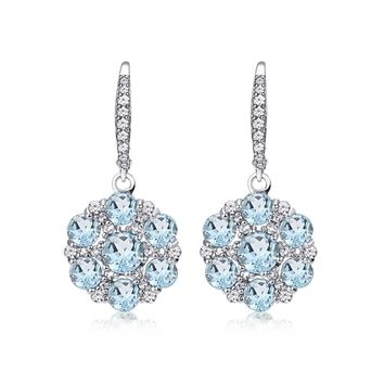 Sterling Silver Blue and White Topaz Flower Dangle Leverback Earrings