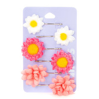 Bright Spring Flowers Bobby Pins Set of 6
