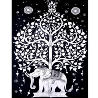 White Tree of Life Elephant Wall Tapestry