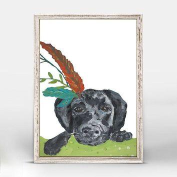 Boho Black Lab Mini Framed Canvas