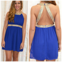 Get Your Shine On Royal Blue Sequin Cocktail Dress