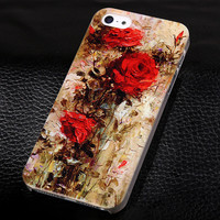Rose oil painting phone case for iphone 5 5s SE+ Nice gift box 072702