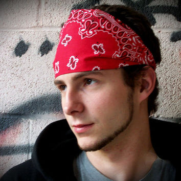 Mens Headband, Red Bandana Headband, Red Mens Headwrap, Red Mens Head Wrap (Item 4012) Large