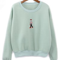 Green Cartoon Embroidery Crew Neck Long Sleeve Sweatshirt