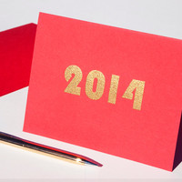 Solid Gold 2014 card, new year's' glitz blank notecard