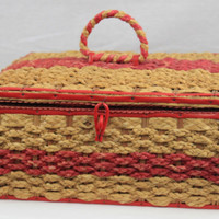 Vintage 1960s Wicker Sewing Basket, Red and Natural Color