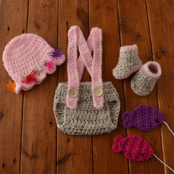 Crochet Pink Newborn Fishing Outfit Aran Fleck Baby Photo Prop