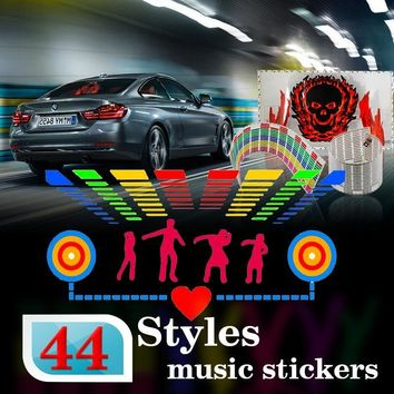 Car styling Automobile LED  EL Sheet Car Music Sticker Equalizer Glow Flash Panel Light Flashing