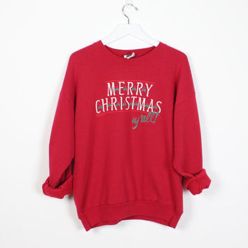 Vintage Merry Christmas YALL Sweatshirt Holiday Party Red Green Southern Tacky Christmas Sweater Ugly Xmas Sweater Hipster Jumper L Large XL