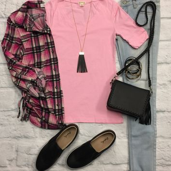 Basic V-Neck Mid Sleeve Tee: Pink