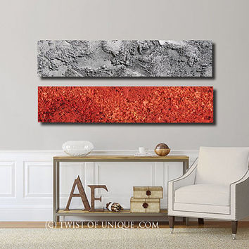 Industrial abstract painting / CUSTOM  2 painitng set / 48 x 12  / textured paintings/ Concrete paintings/ Twist of unique/ Silver, red