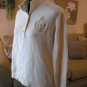 vintage Ralph Lauren While pull over Sweater With Crest womans size Medium