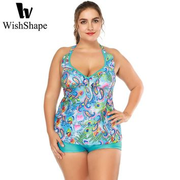 Sexy V Neck Ruffle Halter Swimsuit Two Pieces Tankini Set With Shorts Plus Size Swimwear Peacock Print Vintage Bathing Suits
