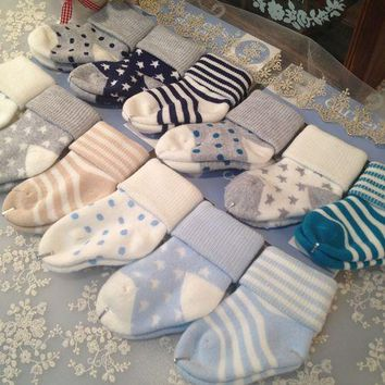 6 Pair Set Of Boys Socks Sizes 0 To 24 Months