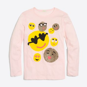 Girls' long-sleeve emoji keepsake T-shirt