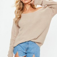 Missguided - Beige Off Shoulder Sweater