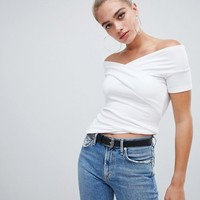 ASOS DESIGN off shoulder fitted top at asos.com