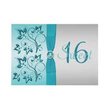 Aqua and Silver Sweet Sixteen Party Invitation from Zazzle.com