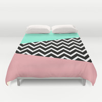 Pastel Chevron Tiffany Rose 80's Pattern Duvet Cover by RexLambo | Society6