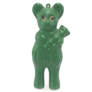 Lenticular Eyes Green Plastic Bear, Vintage Carnival Prize, Vintage Blow Mold Toy, Hong Kong, Winky Eye,Googly Eyes,Winking,Holographic