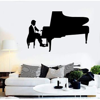 Vinyl Decal Classical Music Pianist Piano Wall Stickers Mural Unique Gift (ig1317)