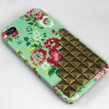 Brass Stud rose Hard Top And Bottom Case Cover for Apple iPhone 4gs Case, iPhone 4s Case, iPhone 4 Hard Case