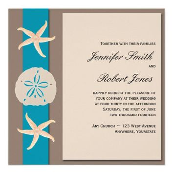 Brown and Turquoise Band Starfish Wedding Personalized Invitation from Zazzle.com