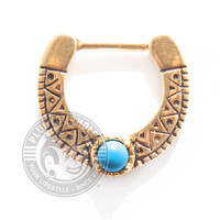 Gold Aztec with Turquoise Center Steel Septum Clicker