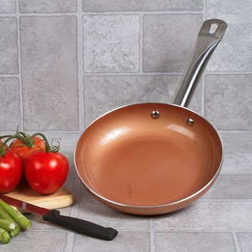 """Copper Ceramic 8"""" Non Stick Fry Pan with Induction Bottom"""