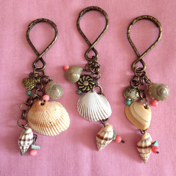 Beachy Sea Shell Bronze Key Chain Beads Coral Turquoise Shells Seashore Summer Fun Womens Girls