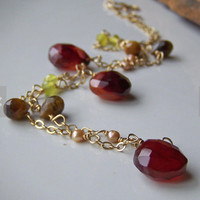 Cranberry Chalcedony, Olive Jade, Tiger Eye, Burgundy, Wine, Green, 14/20 K Goldfilled Necklace, Freshwater Pearls, Etsy, Etsy Jewelry
