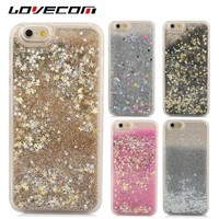 LOVECOM For iPhone 7 6 6S Plus 5 5S 5C SE Cell Phone Case Dynamic Liquid Glitter Stars Quicksand Colorful Sequin Hard PC Cover