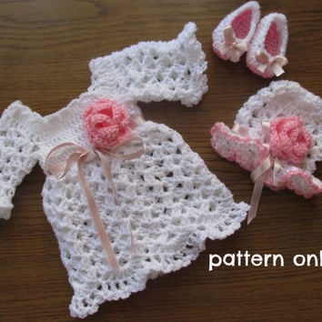 Crochet pattern 3 PATTERNS in one 6 SIZES Baby Dress Hat Shoes Baby Dress Crochet Baby Dress Pattern Baby Dress Baby clothes Newborn dress