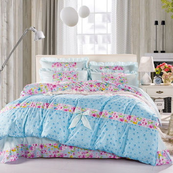 2015 Summer style Bedding set 4pcs ropa de cama Bed linen sheet Duvet cover comforter bedding sets Bedspread Edredon Pillowcase