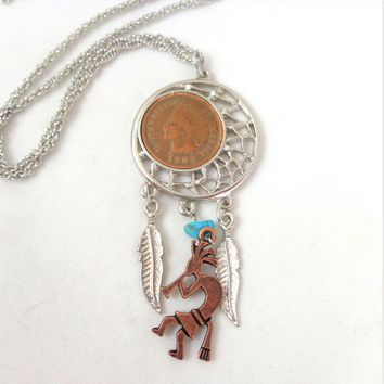Vintage 1905 Indian Head Penny Coin Dream Catcher Necklace