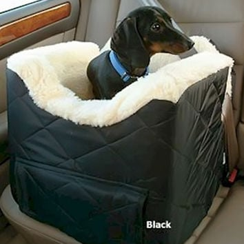 Snoozer Comfort Lookout II Dog Car Seat With Travel Rack - Small / Grey Quilt