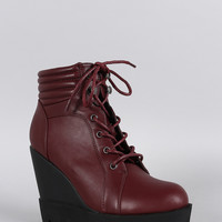 Qupid Quilted Cuff Lug Sole Wedge Bootie
