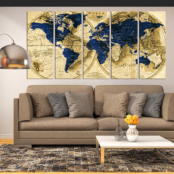 5 Panel world map canvas print, push pin world travel tracker map wall art, world map with countries, navy blue and brown world map hr117