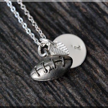 Silver Football Charm Necklace, Initial Charm Necklace, Personalized, Football Charm, Football Pendant, Football Fan Jewelry, Fan Necklace