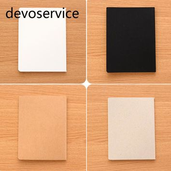 DIY A6 Vintage Kraft Paper Notebook With Blank Paper Creative Sketch Black Brown Notebook  Book Kids Gift Korean Stationery