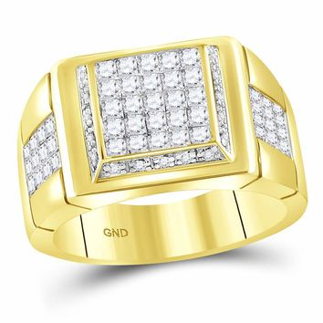 10kt Yellow Gold Mens Princess Diamond Square Cluster Ring 1-5/8 Cttw