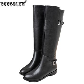 YOUGOLUN women's thigh high boots Ladies fashion buckle winter autumn knee high boots woman genuine leather women low heel shoes