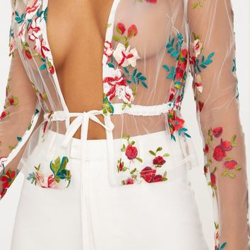 White Embroidered Lace Tie Waist Top