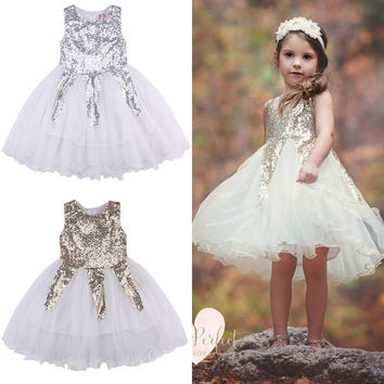 Toddle Kids Girl Princess Party Dress Sequins Gold Silver Wedding Braidmaid Tulle Tutu Formal Dresses Ball Gown 2016