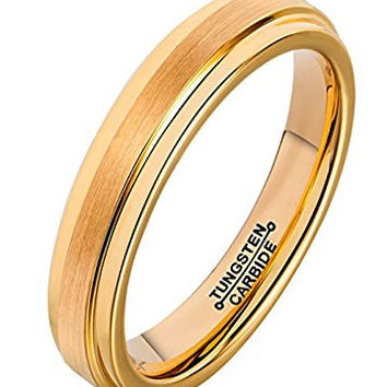 4mm Ring18K Gold Plated Tungsten Carbide Wedding Band Matte Brushed Polished