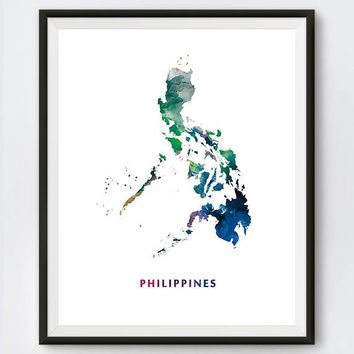 Philippines Map Print, Watercolor Manila, Wall Art, Philippines Poster, Painting, Travel Poster, Home Office Decor, Gift, Digital Download
