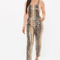 Missguided - Brown Faux Leather Snake Print Dungaree Jumpsuit
