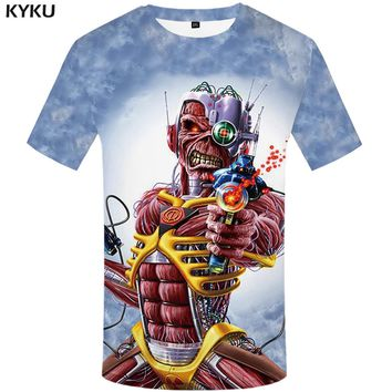 KYKU Brand iron maiden T-shirt men gun T shirt muscle Tshirt Fans shirts Skull Tee Gothic Tops tshirts men t shirt Skull clothes